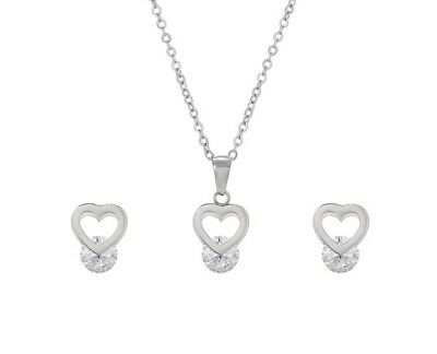Double Heart Silver Cz Ladies Solid Earrings Necklace Pendant Gift Set