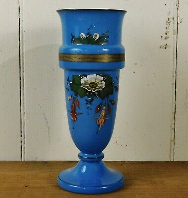 Beautiful Antique Victorian French Enamel Gilt Decorated Blue Opaline Glass Vase
