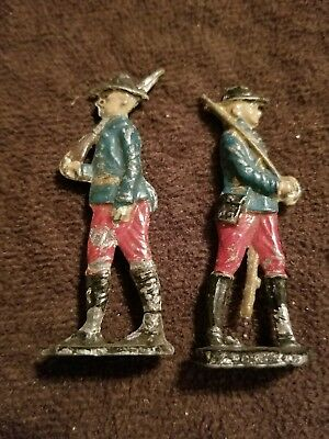 "Pair of Antique Painted Red & Blue Lead Soldiers Military Figures 2.25"" Approx."