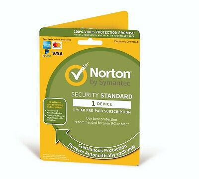 Norton Internet Security Standard 2019 1 Device 1 Year *Emailed activation Key*