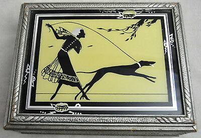 Antique Art Deco Wood Jewelry Box w Reverse Painted Flapper Girl Greyhound Lid