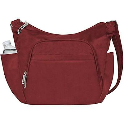 Travelon Anti-Theft Cross-Body Bucket Bag, Cranberry, One Size