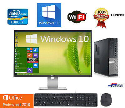 Clearance Fast Dell Desktop computer PC Quad CORE i7 8/16GB RAM Win10, LCD+KB+MS