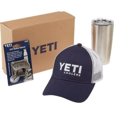YETI Combo Gift Set 20oz Rambler Tumbler, Green Trucker Hat, Bottle Opener