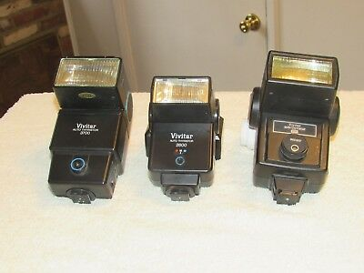Lot Of 3 Vivitar Flashes 2800, 283, 3700 Not Working For Parts