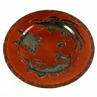 Antique Japanese Dragon Bird Silver Decorated Iron Red Plate Signed