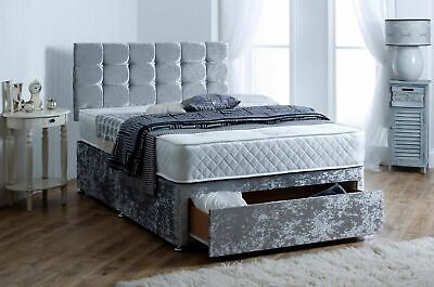 New Crushed Velvet Divan Base With Under Bed Storage All Sizes Double King