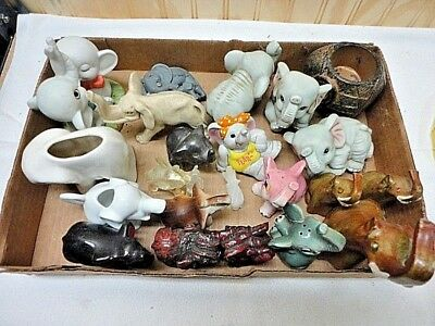 Large Lot of 23 Elephant Collectibles - Acrylic/Ceramic/Sets/Great Variety