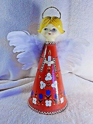 Vintage Rare 11 inch tall Cardboard Cone Angel hand-painted feather wings,Japan
