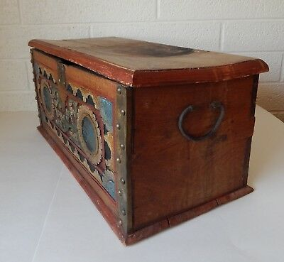 Antique Hand Carved Folk Art Chest