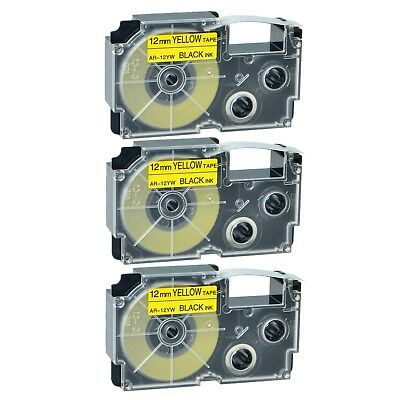 3PK Compatible Casio XR-12YW Black on Yellow Label Tape for EZ KLP1000 12MM X 8M