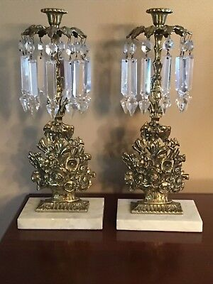 """Antique Cast Brass Mantle Lustres with 5"""" Crystal Prisms and Marble Bases"""