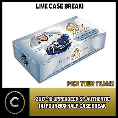 2017-18 Ud Sp Authentic Four (4) Box 1/2 Case Break #H235 - Pick Your Team -