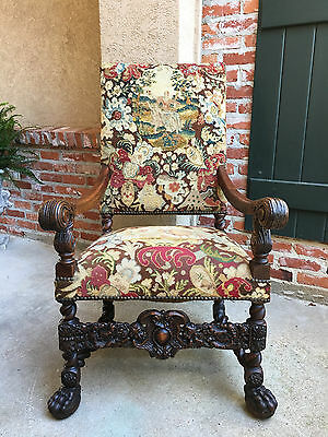 Antique French Oak Throne Arm Chair Louis XIV BARLEY TWIST Renaissance Tapestry