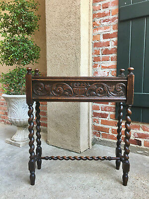 Antique English Carved Oak Barley Twist Plant Stand Planter Jacobean