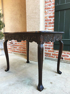 TALL Antique French Louis XV Carved Oak Side Sofa Hall Parlor TABLE Victorian