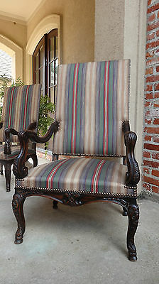 Large Antique French Carved Walnut Arm Dining Chair Louis XV Upholstered Stripe
