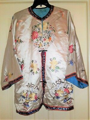 Embroidered pongee Silk chinese  Kimono robe JACKET COAT qing butterfly floral