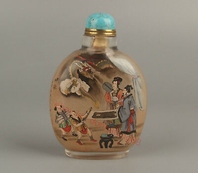 China Exquisite Handmade the ancients Dragon Glass Inside painting snuff bottle