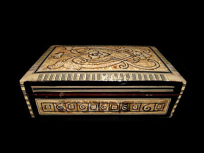 Outstanding Vintage Mother Of Pearl Hand Made Wooden Jewelry Box!!!