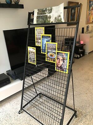 Multi-Layers Magazine Stands Brochure Holder Rack Wheels Display Office Home