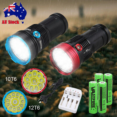 50000LM 12x T6 LED Flashlight Torch 4x 18650 Hunting Light Outdoor Lamp+Charger