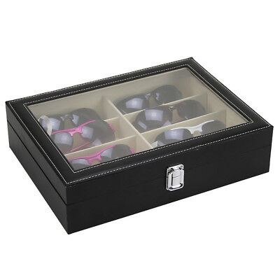 8 Grid Eye Glasses Box Sunglasses Leather Storage Display Organizer Case Black