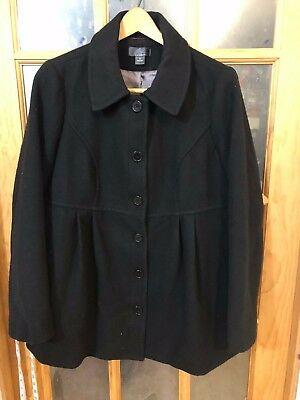 Oh Baby by Motherhood Maternity Stretch Black Coat, Women's size L Large