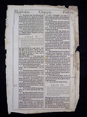 1611 KING JAMES BIBLE LEAF PAGE * BOOK OF 1st. THESSALONIANS 1:8-4:16 PAUL'S JOY