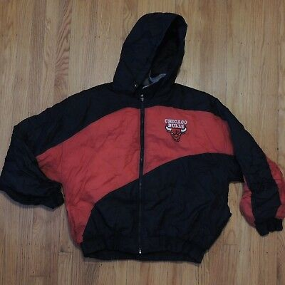 85da285d7bc152 Chicago Bulls Vintage Jacket Mens Chalk Line 90s Red Black NBA Zip Up Size  Large