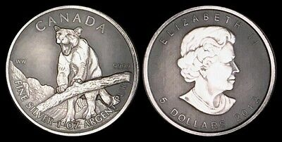 2012 QUEEN ELIZABETH/CANADA ONE TROY OUNCE SILVER ROUND .9999 PURE Antique