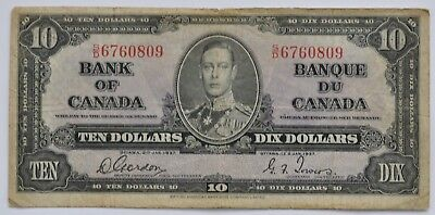 1937 Bank of Canada 10 Dollar Note, Gordon/Towers, S/D6760809, F, LOT A167