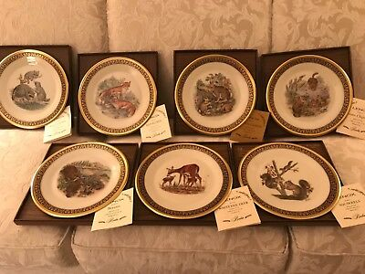 Set of 7 LENOX Boehm Woodland Wildlife Plates with Original Boxes and Covers