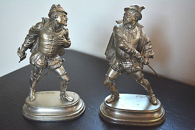 Antique 19th Century French E.Guillemin Pair Silver Gilt Bronze Sculptures FAB