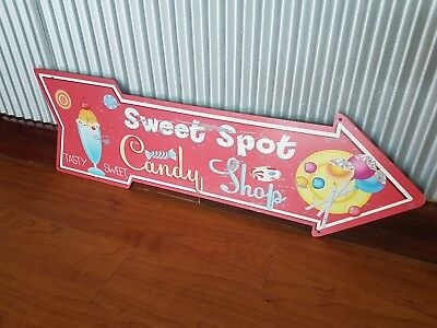 Candy Shop arrow metal tin sign sweet spot lolly shop ice cream confectionary