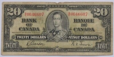 1937 Bank of Canada 20 Dollar Note, Gordon/Towers, B/E0646607, VG, LOT A169