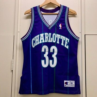 a6ba21acc ALONZO MOURNING CHARLOTTE HORNETS Champion Authentic Jersey Sewn Purple 40 M
