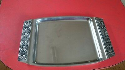 Vintage 1970s Wiltshire BURGUNDY stainless steel SERVING TRAY 39 cm x 26 cm