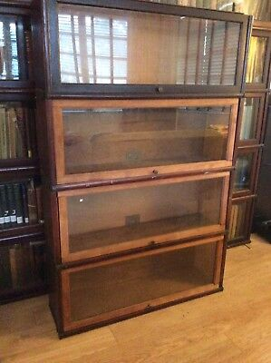 "4 Antique GLOBE WERNICKE BARRISTER BOOKCASE ""C"" Sections - PROJECT"