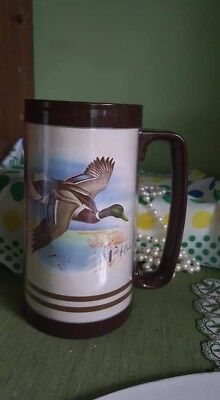Vintage Jerry RAEDEKE Thermo MUG CUP CANADIAN GEESE Hunting THERMOSERV
