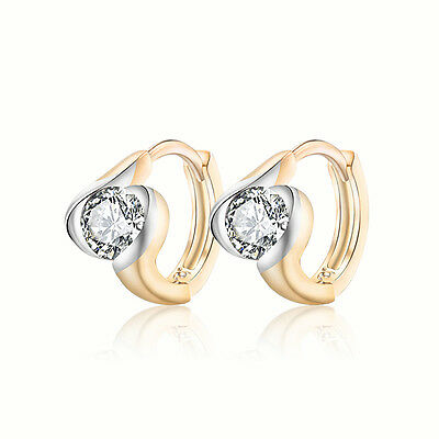 18 k Gold Plated Jewellery Small Baby Girls Hoops with Zircons Earrings E525