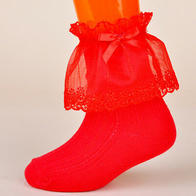 Red Toddlers Kids Girls Solid Lace Cotton Mesh Socks Hosiery 4-6 Years