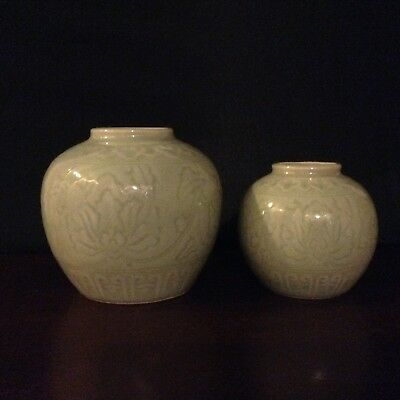 Chinese Celadon Green Hand Carved Lotus Flower Vases Set Of 2