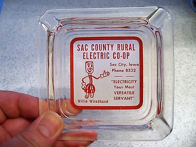 Vintage Sac County(Iowa) Rural Electric CO-OP Ashtray~Willie Wiredhand~Sac City