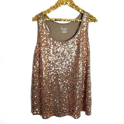 Lane Bryant Womens Plus Size 26/28 Fun And Flirty Brown Sequin Tank Top Shirt