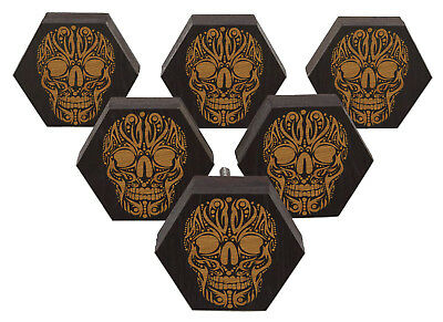 IBA Skull Engraved Wooden Cupboard Door Knobs Pull Handle Pack of 10-TEX4A