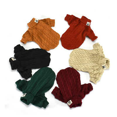 Pet Dog Knitted Jumper Sweater Cat Kitten Puppy Polo Neck Knitwear Warm Clothes