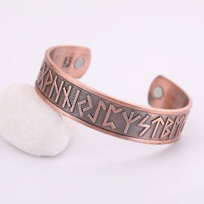 Vintage Nordic Viking Runes Healthcare Magnetic Talisman Bracelet for Men Women
