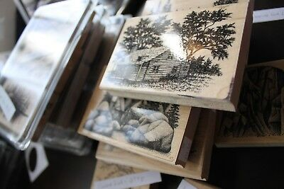 Stampscapes used wood mount rubber stamps scenic nature - You Choose!