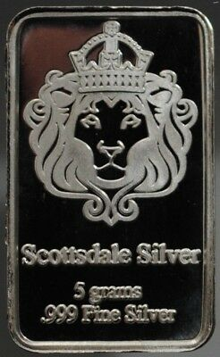 Scarce Scottsdale Silver 5 grams .999 Fine Silver Fractional Bar, Series 1
